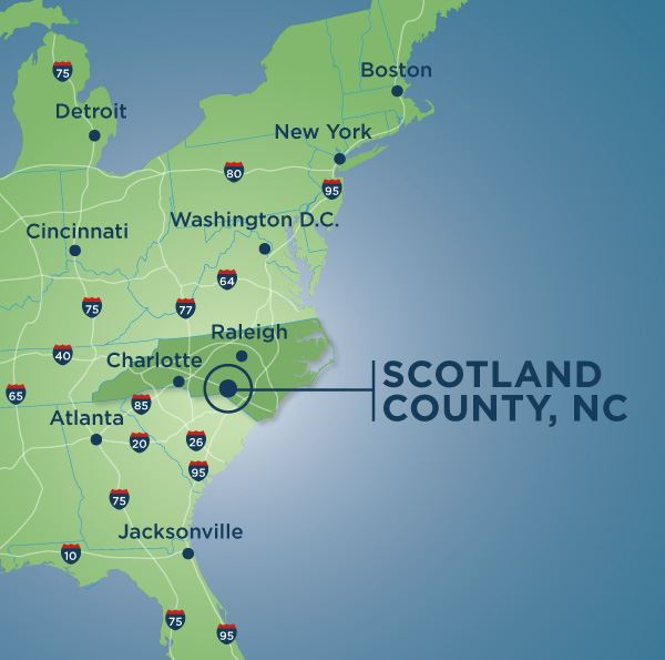 Scotland County, NC pointed out on a map of the United States