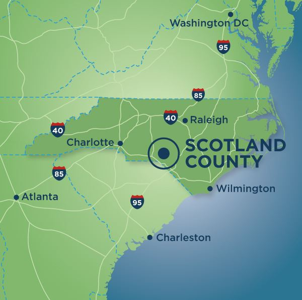 Scotland County, NC pointed out on a map of North Carolina and surrounding states
